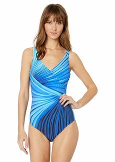 Gottex Women's Surplice One Piece Swimsuit Northern Lights Multi Blue-Extra Coverage