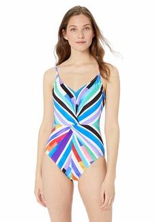 Gottex Women's Thin Strap Twist Front V-Neck One Piece Swimsuit