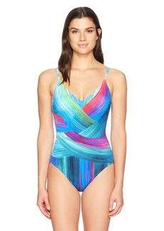 Gottex Women's Thin Strap V-Neck One Piece Swimsuit