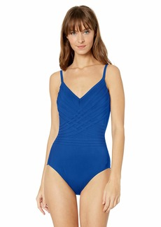 Gottex Women's Woven V-Neck One Piece Swimsuit Divine Royal-Extra Coverage
