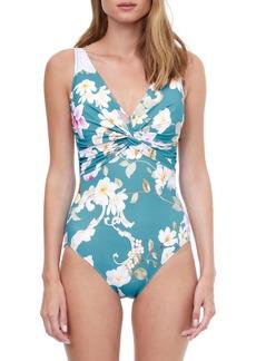 Gottex Hitachi Floral V-Neck Tank One-Piece Swimsuit
