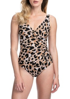 Gottex Kenya Animal-Print Surplice One-Piece Swimsuit - Extra Coverage