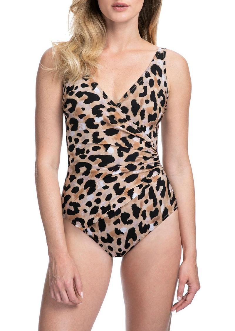 Gottex Kenya Animal-Print Surplice One-Piece Swimsuit - Extra Coverage