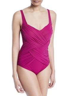 Gottex Lattice Ruched One-Piece Swimsuit