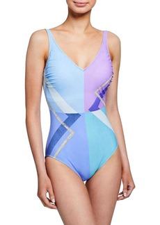 Gottex Modern Art V-Neck One-Piece Swimsuit