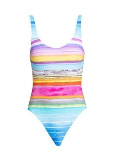 Gottex Piruleta Square-Neck Printed One-Piece Swimsuit