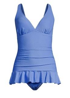 Gottex Ribbons Ruffle One-Piece Swim Dress