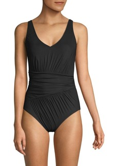 Gottex Ruched V-Neck One-Piece