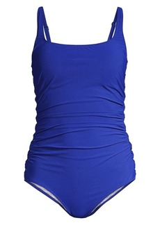 Gottex Solid Ruched One-Piece Swimsuit