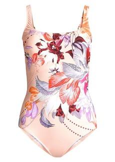 Gottex Squareneck Floral One-Piece Swimsuit