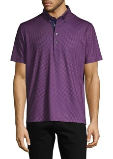 Greyson Stretch Diamond-Print Polo
