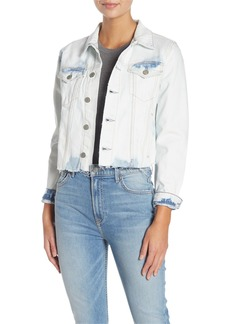 GRLFRND Cara Raw Hem Acid Wash Denim Jacket