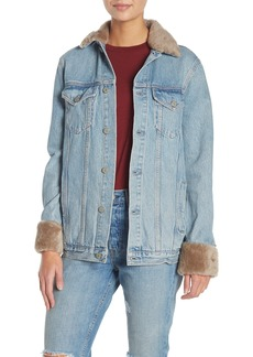 GRLFRND Daria Genuine Sheep Fur Trimmed Denim Jacket