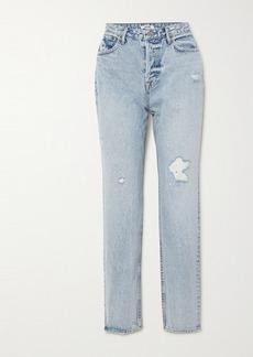GRLFRND Devon Distressed High-rise Straight-leg Jeans