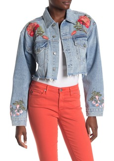 GRLFRND Eve Crop Boyfriend Embroidered Denim Jacket