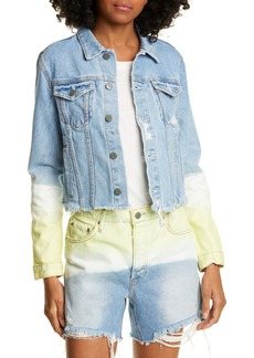 GRLFRND Cara Dip Dye Crop Denim Jacket