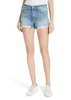 GRLFRND Dovima Distressed Denim Shorts (Half Moon)