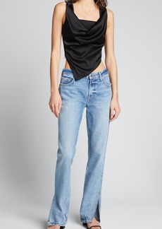 GRLFRND Hailey Low-Rise Straight Jeans with Splits