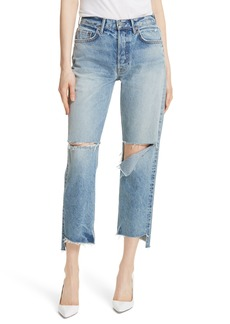 GRLFRND Helena Ripped Rigid High Waist Straight Jeans (All Cut Up)