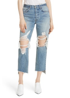 GRLFRND Helena Ripped Rigid High Waist Straight Jeans (It's Cold Out)