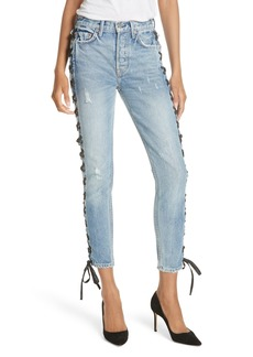 GRLFRND Karolina High Waist Lace-Up Crop Skinny Jeans (Imperial)