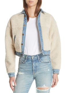 GRLFRND Sarai Reversible Genuine Shearling & Denim Jacket