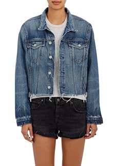 GRLFRND Women's Cara Crop Denim Trucker Jacket
