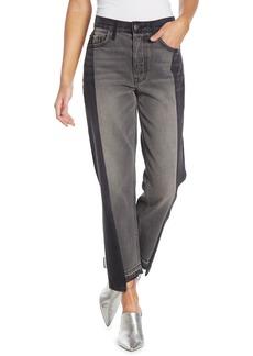 GRLFRND Helena Paneled High Rise Straight Leg Jeans