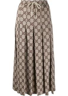Gucci GG pattern pleated midi skirt