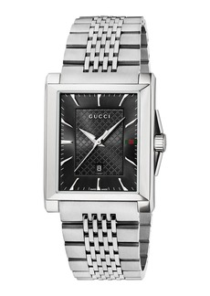 Gucci 33mm G-Timeless Steel Rectangle Bracelet Watch