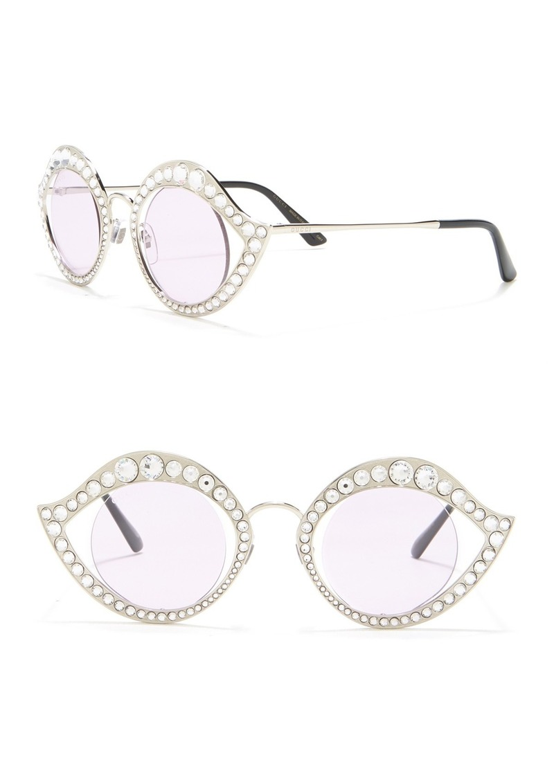 Gucci 41mm Embellished Round Cat Eye Sunglasses