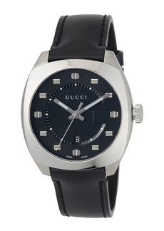 Gucci 41mm Men's Round Bracelet Watch w/ Leather Strap  Black