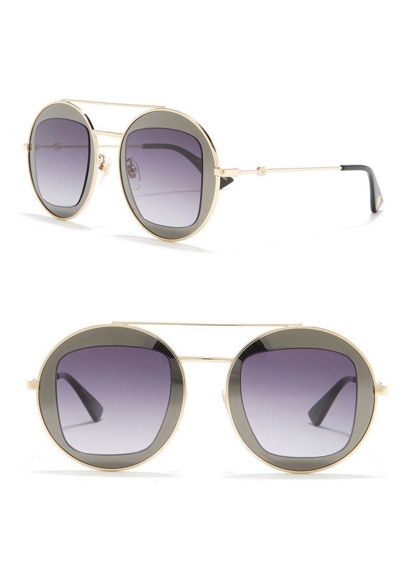 Gucci 47mm Cutout Double Frame Round Sunglasses