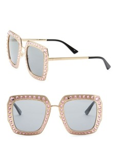 Gucci 52MM Crystal-Studded Square Sunglasses