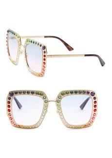 Gucci 52MM Rainbow Crystal-Studded Square Sunglasses