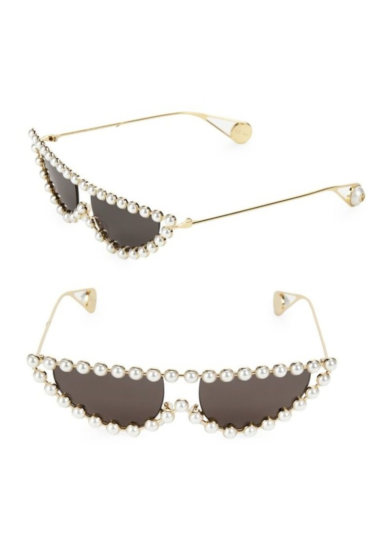 53MM Pearl Embellished Cat Eye Sunglasses