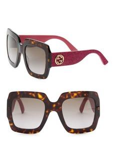 Gucci 54MM Glitter-Detail Square Sunglasses