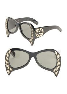 Gucci 55MM Oversize Bat Sunglasses