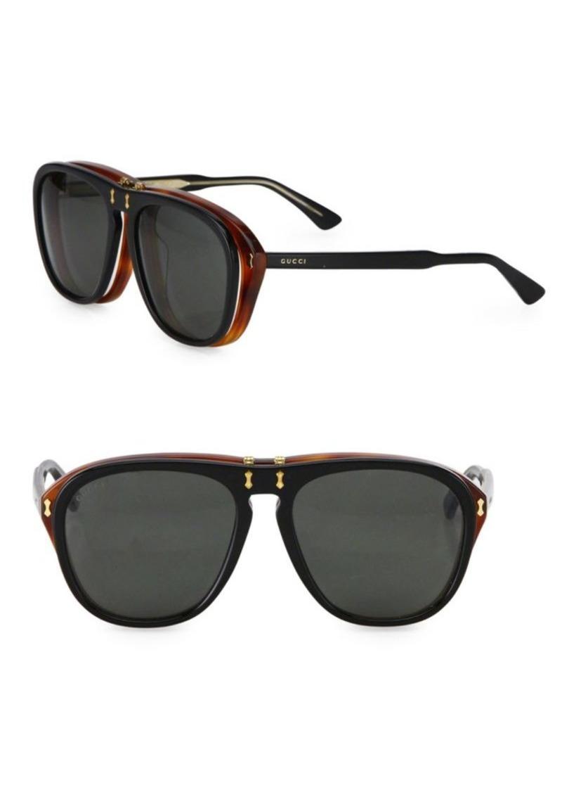 959f0a3773 Gucci 56MM Flip-Up Pilot Sunglasses
