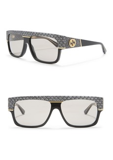 Gucci 60mm Snakeskin Print Rectangle Sunglasses