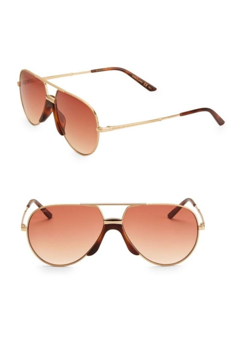 Gucci 60MM Unisex Aviator Sunglasses