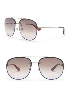 Gucci 62mm Modified Aviator Sunglasses