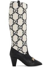 Gucci 75mm Zumi Gg Bouclé & Leather Tall Boots