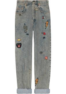 Gucci symbol denim jeans