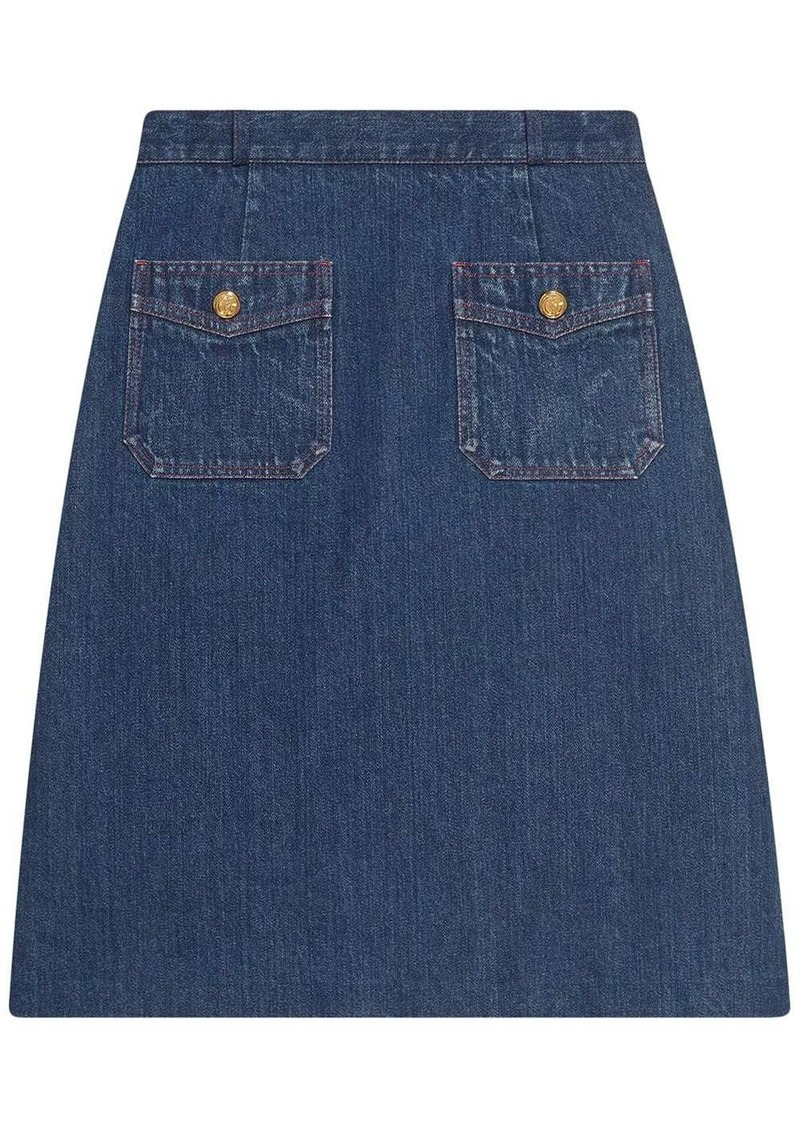 Gucci A-line denim mini skirt