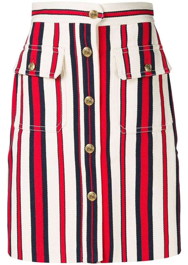 Gucci A-line striped denim skirt
