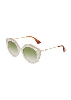 Gucci Acetate/Metal Crystal Cat-Eye Sunglasses