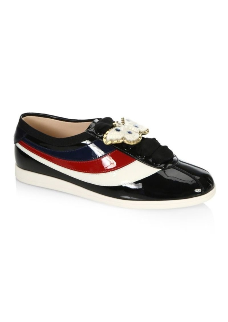 b714d20d349 Gucci Bee Ornament Patent Leather Sneakers