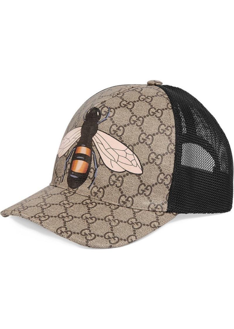 6cd1e1deb19 Gucci Bee print GG Supreme baseball hat