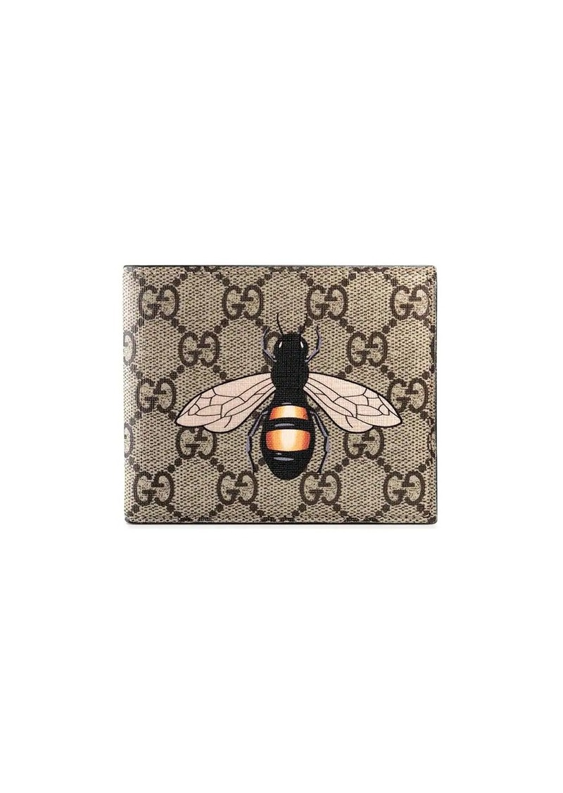Gucci Bee print GG Supreme wallet